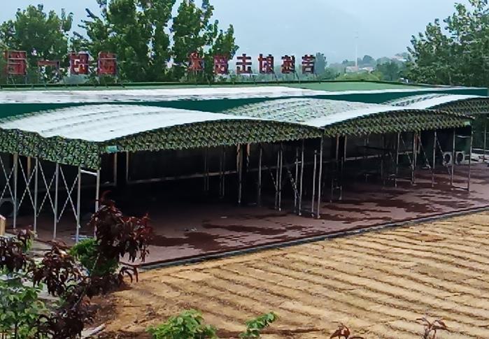 训练营安装的遮阳雨棚_山东创力蓬房科技有限公司